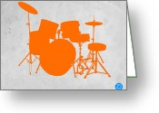Player Greeting Cards - Orange Drum Set Greeting Card by Irina  March