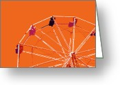 Game Room Greeting Cards - Orange Ferris Wheel Greeting Card by Glennis Siverson
