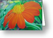 Georgia Greeting Cards - Orange flower Greeting Card by Joshua Morton