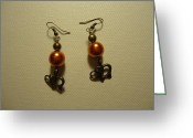 Earrings Jewelry Greeting Cards - Orange Gold Elephant Earrings Greeting Card by Jenna Green