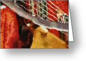 Musicians Pastels Greeting Cards - Orange Guitar Greeting Card by Russ Harris