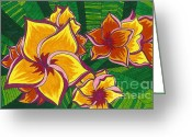 Botanical Drawings Greeting Cards - Orange Hawaiian Flowers Greeting Card by Lindsay Mangham