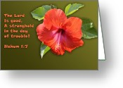 Biblical Greeting Cards - Orange Hibiscus and Scripture Greeting Card by Linda Phelps