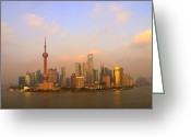 Communications Tower Greeting Cards - Orange Hour At Pudong Greeting Card by Tom Horton, Further To Fly Photography