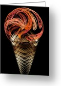 Dessert Digital Art Greeting Cards - Orange Ice Cream Cone Greeting Card by Andee Photography