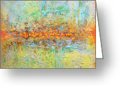 Abstract Art Tapestries - Textiles Greeting Cards - Orange Intenference Greeting Card by Lolita Bronzini