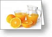 Food And Beverage Greeting Cards - Orange Juice Greeting Card by Carlos Caetano