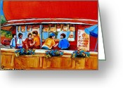 Orange Julep Greeting Cards - Orange Julep Gibeau Landmarks Of Montreal Greeting Card by Carole Spandau