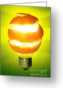 Electricity Greeting Cards - Orange Lamp Greeting Card by Carlos Caetano