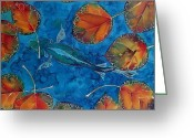 Blues Tapestries - Textiles Greeting Cards - Orange Leaves and Fish Greeting Card by Carolyn Doe