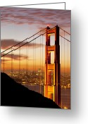 Overhead Greeting Cards - Orange Light at Dawn Greeting Card by Brian Jannsen