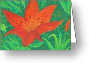 Law Of Attraction Greeting Cards - Orange Lilly of Abundant Wealth Greeting Card by Carey Waters