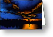 Huisken Greeting Cards - Orange on Blue Greeting Card by Lyle  Huisken