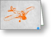 Baby Room Photo Greeting Cards - Orange Plane 2 Greeting Card by Irina  March
