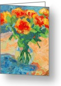 Flower Still Life Prints Painting Greeting Cards - Orange Roses in a Glass Vase Greeting Card by Thomas Bertram POOLE