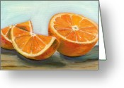 Food Greeting Cards - Orange Greeting Card by Sarah Lynch