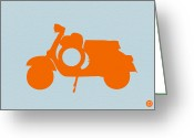 Scooter Greeting Cards - Orange Scooter Greeting Card by Irina  March