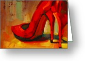 Online Art Gallery Greeting Cards - Orange Shoes Greeting Card by Penelope Moore