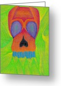 Lime Drawings Greeting Cards - Orange Skull Greeting Card by Jera Sky