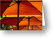 Shade Greeting Cards - Orange Sliced Umbrellas Greeting Card by Karen Wiles