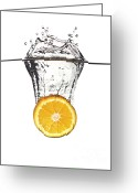 Orange Greeting Cards - Orange Splash In Water Greeting Card by Gualtiero Boffi