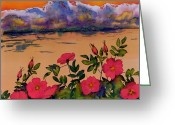 Blues Tapestries - Textiles Greeting Cards - Orange Sun over Wild Roses Greeting Card by Carolyn Doe