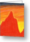 Expressive Pastels Greeting Cards - Orange Sunset Greeting Card by Hakon Soreide