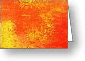 Calm Reliefs Greeting Cards - Orange Synergy Greeting Card by Inder Sethi