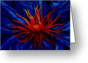 Abstract Flower Greeting Cards - Orange Tango Greeting Card by Julie Pflanzer
