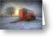 Sunset Framed Prints Greeting Cards - Orange Trailer Greeting Card by Yhun Suarez