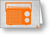 Boom Greeting Cards - Orange Transistor Radio Greeting Card by Irina  March
