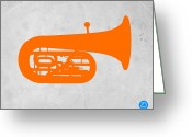 Tuba Greeting Cards - Orange Tuba Greeting Card by Irina  March
