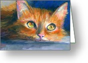 Pet Portrait Drawings Greeting Cards - Orange Tubby Cat painting Greeting Card by Svetlana Novikova