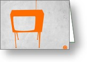 Old Tv Digital Art Greeting Cards - Orange TV Greeting Card by Irina  March