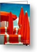 Tropical Island Photo Greeting Cards - Orange Umbrellas Greeting Card by Karen Wiles