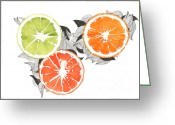 Tangerines Greeting Cards - Orange Greeting Card by Viki Vehnovsky