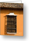 Arquitectura Greeting Cards - Orange Window Greeting Card by Juan  Silva