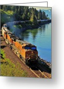Freight Greeting Cards - Orange Workhorse Greeting Card by Benjamin Yeager