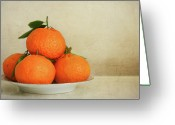 Healthy Eating Greeting Cards - Oranges Greeting Card by Annfrau