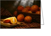 Wicker Basket Greeting Cards - Oranges Greeting Card by Olivier Le Queinec