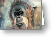 Orangutans Greeting Cards - Orangutan Greeting Card by Arline Wagner