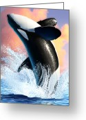 Jumping Digital Art Greeting Cards - Orca 1 Greeting Card by Jerry LoFaro