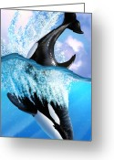 Bubbles Greeting Cards - Orca 2 Greeting Card by Jerry LoFaro