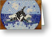 Blues Ceramics Greeting Cards - Orca Mosiac Greeting Card by Jamie Frier