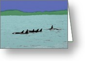 Pods Greeting Cards - Orca Pod Greeting Card by Al Bourassa