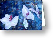 Orchids Greeting Cards - Orchid Blue Greeting Card by Laura Pierre-Louis