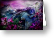 Exotic Birds Greeting Cards - Orchid Jungle Greeting Card by Carol Cavalaris