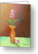 Vases Greeting Cards - Orchids Greeting Card by Arline Wagner