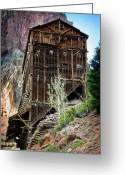 Old Mines Greeting Cards - Ore Bins Greeting Card by Lana Trussell