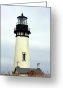 Haunted Home Greeting Cards - Oregon Coast Lighthouses - Yaquina Head Lighthouse Greeting Card by Christine Till